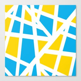 Abstract Interstate  Roadways Aqua Blue & Yellow Color Canvas Print