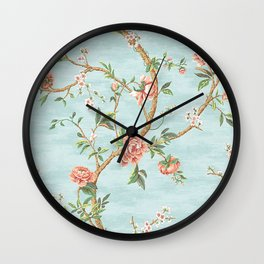 Rose bushes have thorns - Roses Flowers Floral Vintage Retro on Aqua Wall Clock