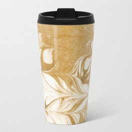 Marble gold swirl ocean watercolor abstract art marbled suminagashi japanese spilled ink Travel Mug