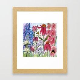 Watercolor Acrylic Cottage Garden Flowers Framed Art Print