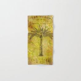 Vintage Journey palmtree typography travel collage Hand & Bath Towel