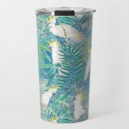 cockatoos playing around in a tropical garden watercolor Travel Mug