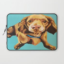 Miniature Long Haired Dachshund Painting on Blue Turquoise  Laptop Sleeve
