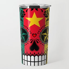 Sugar Skull with Roses and Flag of Cameroon Travel Mug