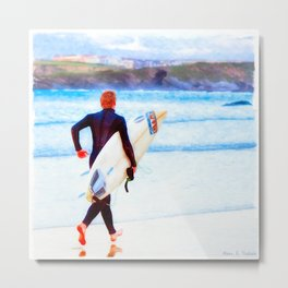 Heaven Is On A Wave - Surfer On The Beach At Newquay Metal Print