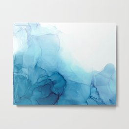 Cool Blue Ocean Tides Abstract Painting Metal Print