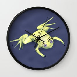 Funny Frog With Fancy Eyelashes Digital Art Wall Clock