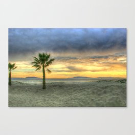 Palm Tree and Sunset Canvas Print