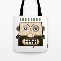 mythology Tote Bags featuring Starkad's Face. Scandinavian. Norse Mythology by FOUR SECOND MEMORY
