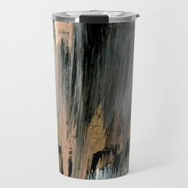 01025: a neutral abstract in gold, black, and white Travel Mug