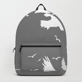 WHITE BIRDS IN FLIGHT GREY ABSTRACT MODERN ART Backpack