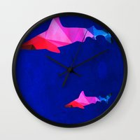 sharks Wall Clocks featuring Sharks by Cullen Rawlins