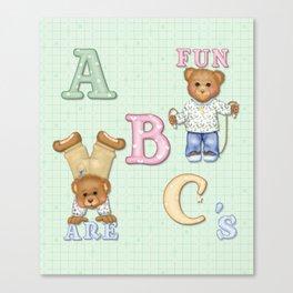 Teddy Bear Alphabet ABC's Green Canvas Print