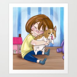 Corgi Hugs Art Print