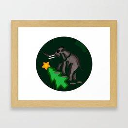 Elephant Steps Over Christmas tree Framed Art Print