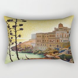 Vintage Italian travel Santa Cesarea Terme Lecce Rectangular Pillow