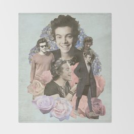 Harry Styles + Flowers Throw Blanket