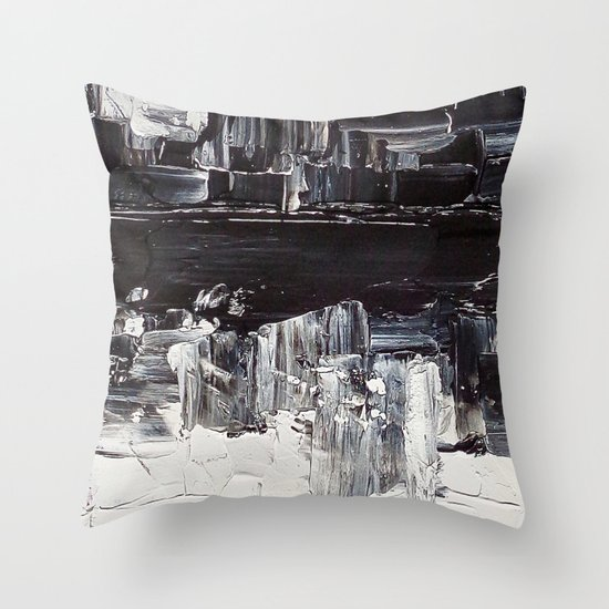 Flatline - black & white abstract painting Throw Pillow