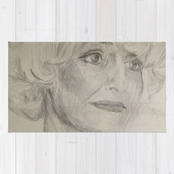 Home Decor Drawing Woman Digital Sketch Modern Room Wall Art Hanging Rug