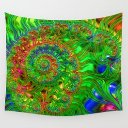 Green Wave Fractal Design Wall Tapestry