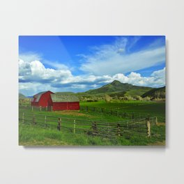The distant Squaw Mountain looms over this barn near the tiny town of Savery Wyoming across the high Metal Print