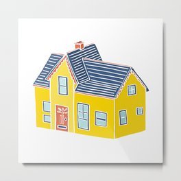 Little Yellow House with a Big Porch Metal Print