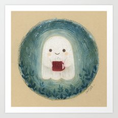 Little ghost with mug Art Print