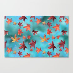 Dead Leaves over Cyan Canvas Print