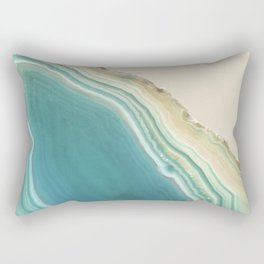 Geode Turquoise + Cream Rectangular Pillow