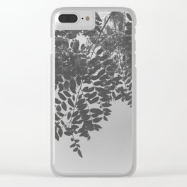 Black & White Green Leaves Clear iPhone Case