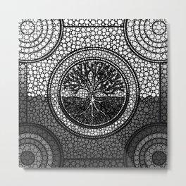 Tree of life - Yggdrasil- Dot Art Grayscale Metal Print