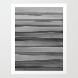 Gray Watercolor Lines Pattern Art Print