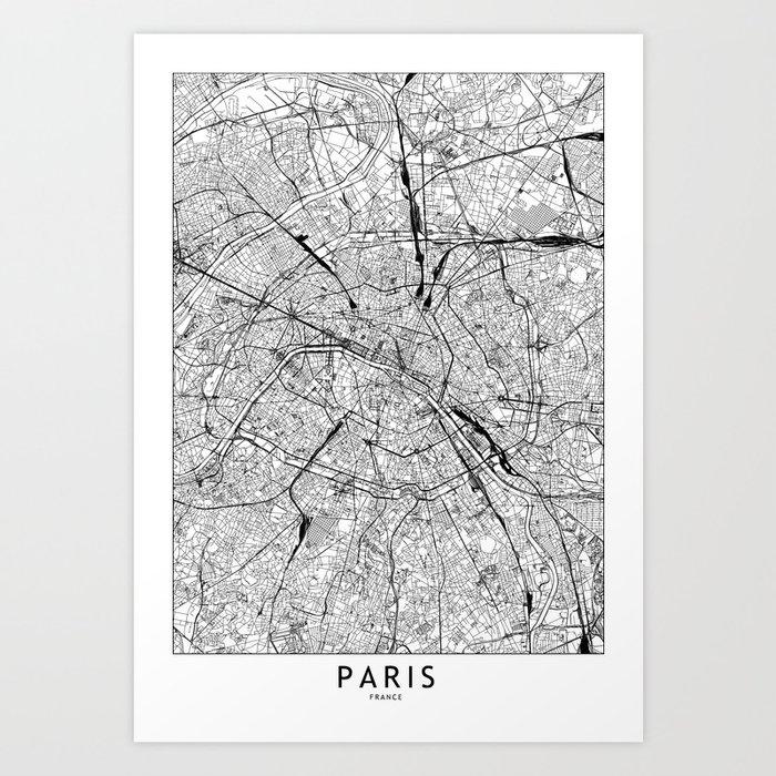 Paris White Map Kunstdrucke