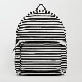 Skinny Stroke Horizontal Black on Off White Backpack