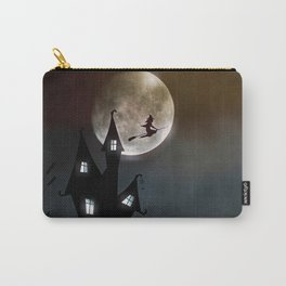 Drawing of a witch leaving her house on a broom in front of a full moon Carry-All Pouch