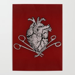 Suture Heart (red version) Poster