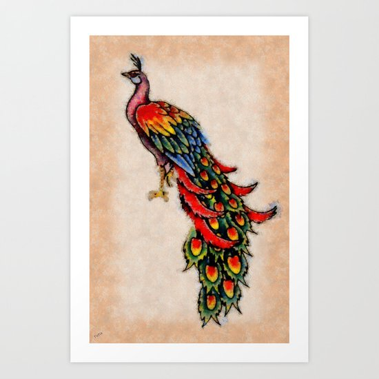 Altered Peacock Art Print