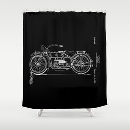 1919 Motorcycle Patent Black White Shower Curtain
