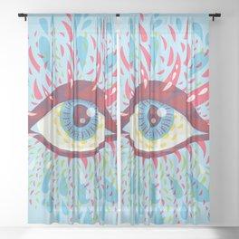 Weird Blue Psychedelic Eye Sheer Curtain