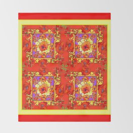 PATTERNED  RED & GOLD ART DECO ORANGE-RED POPPIES Throw Blanket