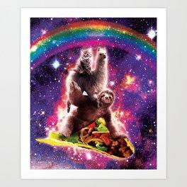 Space Cat Llama Sloth Riding Taco Art Print