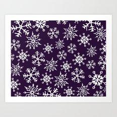 Snowflakes Pattern (Dark Purple) Art Print
