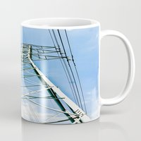 the wire Mugs featuring High Wire by Kim Ramage