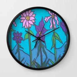 Blue Mountain Flowers Wall Clock