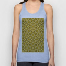 Moroccan pattern, Morocco. Patchwork mosaic with traditional folk geometric ornament black gold. Unisex Tank Top