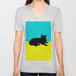 Black Cat on Yellow and Sky Blue Unisex V-Neck