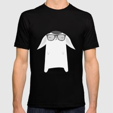 Hipster Bunny MEDIUM Black Mens Fitted Tee