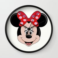minnie mouse Wall Clocks featuring Minnie Mouse by Yuliya L