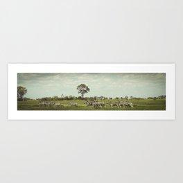 Family of Zebras Art Print