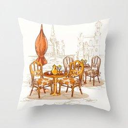 Street Cafe Sketch Throw Pillow
